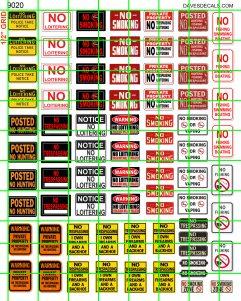9019 DAVE/'S DECALS HO SCALE NO SMOKING NO HUNTING NO LOITERING NO TRESPASSING N